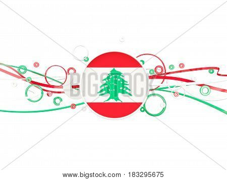 Flag Of Lebanon, Circles Pattern With Lines
