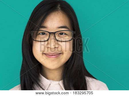 Young Asian Adult Woman Smile Face Studio Portrait