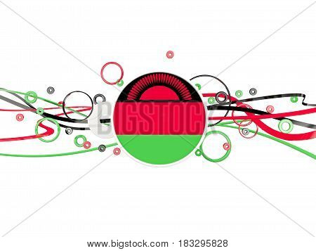 Flag Of Malawi, Circles Pattern With Lines