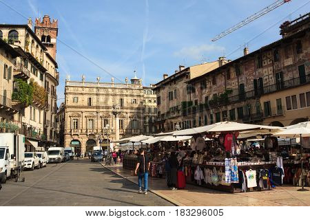 VERONA ITALY - APRIL 07: View of the Piazza delle Erbe the Market's square in Verona on April 07 2017