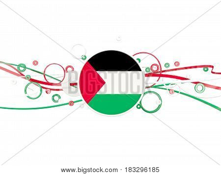 Flag Of Palestinian Territory, Circles Pattern With Lines