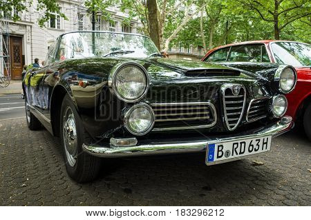 BERLIN - JUNE 14 2015: Luxury car Alfa Romeo 2600 Spider (Tipo 106) 1963. Body by Carrozzeria Touring. The Classic Days on Kurfuerstendamm.