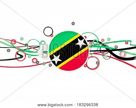 Flag Of Saint Kitts And Nevis, Circles Pattern With Lines