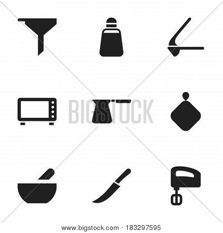 Set Of 9 Editable Cooking Icons. Includes Symbols Such As Crusher, Oven, Pot-Holder And More. Can Be Used For Web, Mobile, UI And Infographic Design.