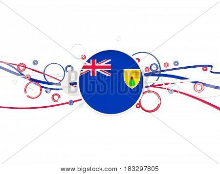 Flag of turks and caicos islands circles pattern with lines. 3D illustration poster