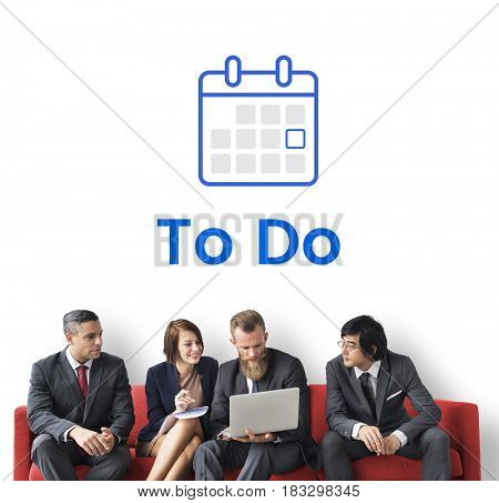 People planning with illustration of personal organizer calendar