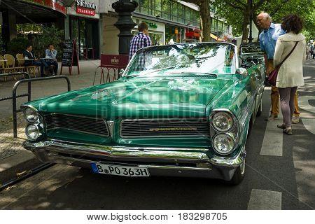 BERLIN - JUNE 14 2015: Full-size car Pontiac Bonneville convertible 1963. The Classic Days on Kurfuerstendamm.