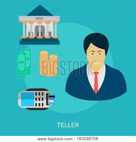 Teller Conceptual Design | Great flat illustration concept icon and use for human, profession, athlete, work, event and much more.
