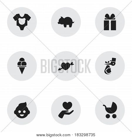 Set Of 9 Editable Family Icons. Includes Symbols Such As Cold Dessert, Child, Love And More. Can Be Used For Web, Mobile, UI And Infographic Design.