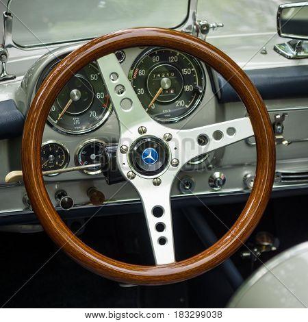 BERLIN - JUNE 14 2015: Cabin of a sports car Mercedes-Benz SL190 (racing version). The Classic Days on Kurfuerstendamm.