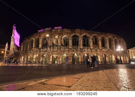 VERONA ITALY - APRIL 07: View of the Verona amphitheatre at dusk time on April 07 2017