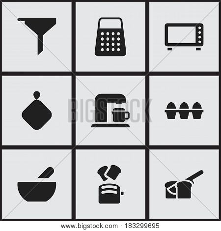 Set Of 9 Editable Meal Icons. Includes Symbols Such As Drink Maker, Shredder, Soup And More. Can Be Used For Web, Mobile, UI And Infographic Design.