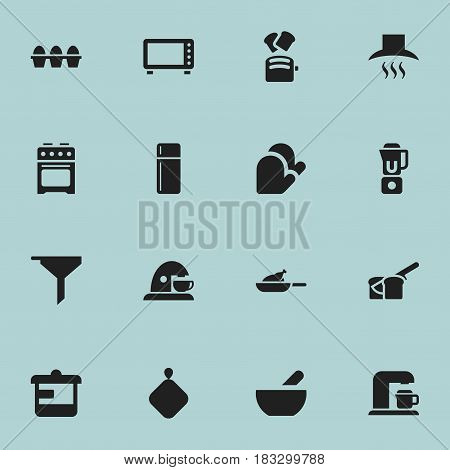 Set Of 16 Editable Meal Icons. Includes Symbols Such As Refrigerator, Drink Maker, Kitchen Hood And More. Can Be Used For Web, Mobile, UI And Infographic Design.