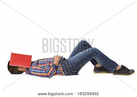 Child Asian is sleeping with red book on his face on isolated.