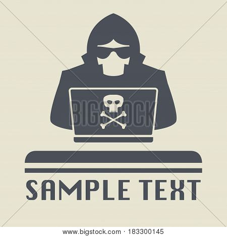Spy agent searching on laptop. Spy icon or sign symbol vector illustration
