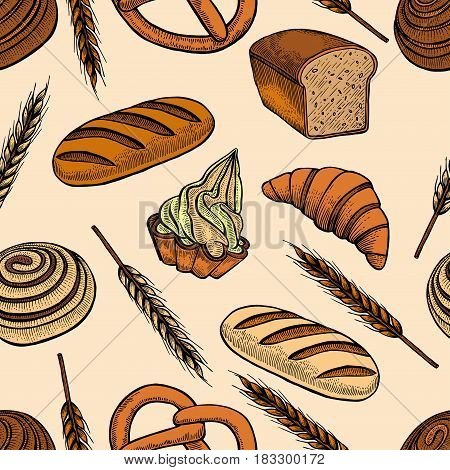 Vector set seamless pattern with different kind of bread on yellow background.