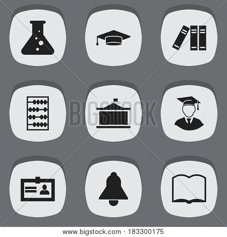 Set Of 9 Editable Science Icons. Includes Symbols Such As Diplomaed Male, Bookshelf, Book And More. Can Be Used For Web, Mobile, UI And Infographic Design.