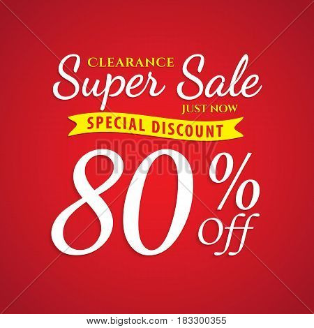 Vol. 1 Super Sale Red 80 Percent Heading Design For Banner Or Poster. Sale And Discounts Concept. Ve