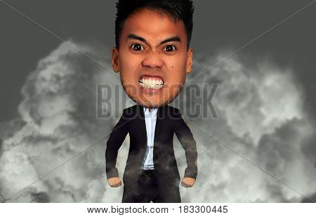 Funny picture of an angry man with a big head