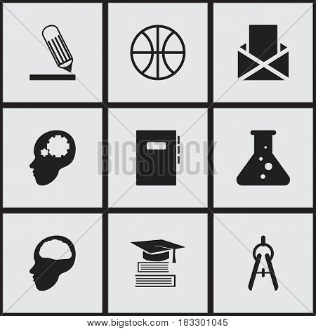 Set Of 9 Editable School Icons. Includes Symbols Such As Writing, Math Tool, Chemistry And More. Can Be Used For Web, Mobile, UI And Infographic Design.