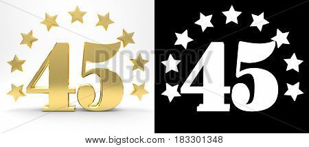 Golden number forty five on white background with drop shadow and alpha channel decorated with a circle of stars. 3D illustration