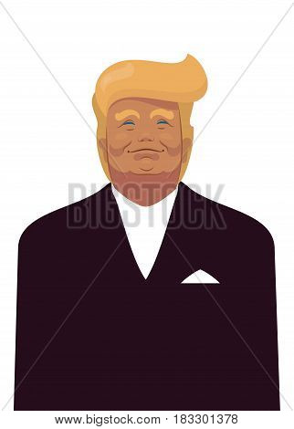 Cartoon Portrait of Donald Trump the President of the United States of America USA