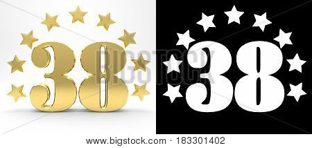 Golden number thirty eight on white background with drop shadow and alpha channel decorated with a circle of stars. 3D illustration