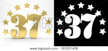 Golden number thirty seven on white background with drop shadow and alpha channel decorated with a circle of stars. 3D illustration