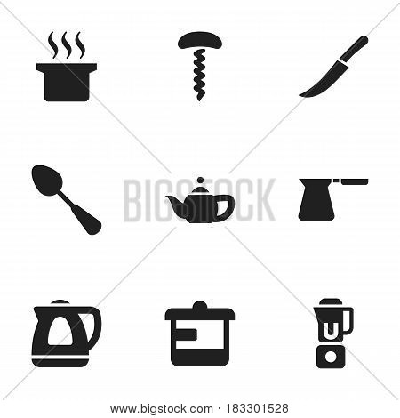 Set Of 9 Editable Food Icons. Includes Symbols Such As Soup Pot, Teapot Appliance, Hand Mixer. Can Be Used For Web, Mobile, UI And Infographic Design.