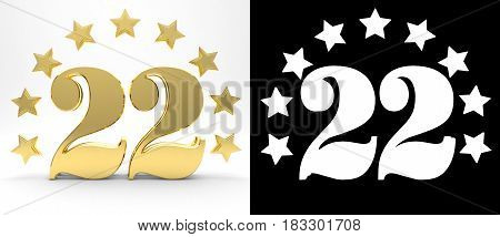 Golden number twenty two on white background with drop shadow and alpha channel decorated with a circle of stars. 3D illustration