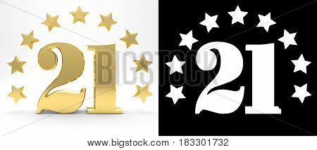 Golden number twenty one on white background with drop shadow and alpha channel decorated with a circle of stars. 3D illustration