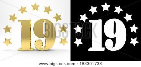 Golden number nineteen on white background with drop shadow and alpha channel decorated with a circle of stars. 3D illustration