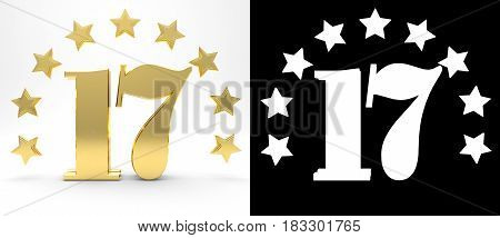 Golden number seventeen on white background with drop shadow and alpha channel decorated with a circle of stars. 3D illustration