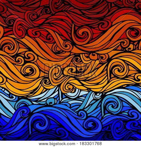 Seamless pattern with abstract hand-drawn waves Background