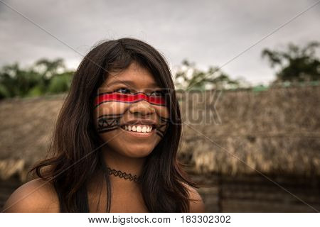 Girl from Tupi Guarani Tribe in Brazil