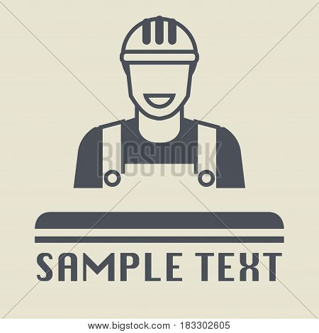 Builder man icon or sign vector illustration