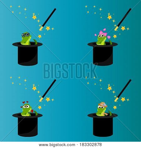 Very high quality original trendy vector set of magic hat with romantic crocodile or alligator and wand with sparkles