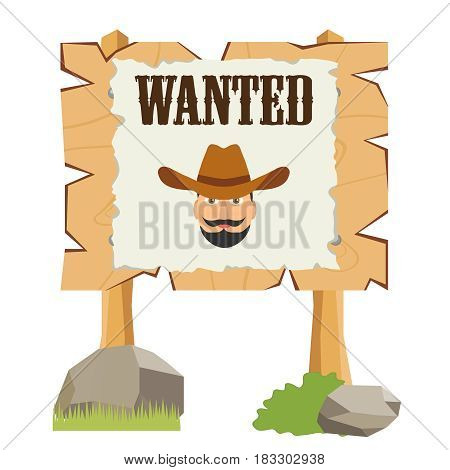 A board with a leaf is wanted. Flat design vector illustration vector.