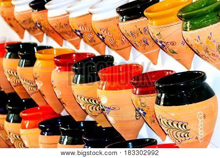 Typical Spanish small conical ceramic flower vases selection