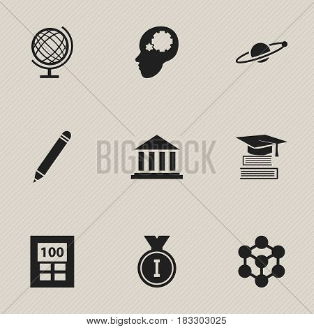 Set Of 9 Editable School Icons. Includes Symbols Such As Calculator, Education, Creative Idea And More. Can Be Used For Web, Mobile, UI And Infographic Design.