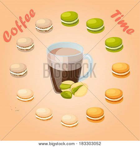 Very high quality original trendy vector illustration cup of pistachio coffee and macaroons cookie