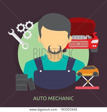 Auto Mechanic Conceptual Design | Great flat illustration concept icon and use for mechanic, car repair, industrial, transport, business concept, and much more.