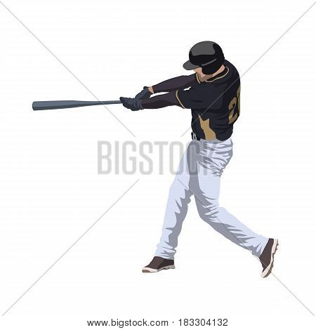 Baseball player hitting ball isolated vector illustration