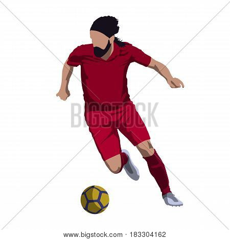 Soccer player kicking ball isolated vector illustration. Footballer in red jersey