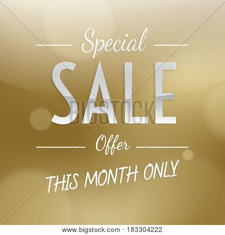 Special Sale Heading Luxury Gold Design For Banner Or Poster. Sale And Discounts. Vector Illustratio