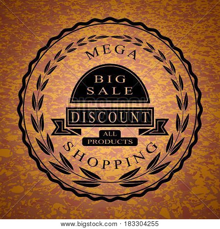 Vector illustration of weekend sale offer circle-shaped logo.