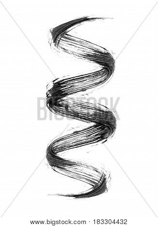 Mascara brush stroke in a twisted shape  on white background