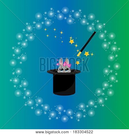 Very high quality original trendy vector illustration of magic hat with girl bunny or rabbit and wand with sparkles