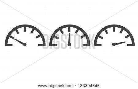 Speedometer with different levels. Flat vector style