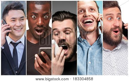 The collage from images of multiethnic group of happy young women using their phones . Positive human emotion face expressions